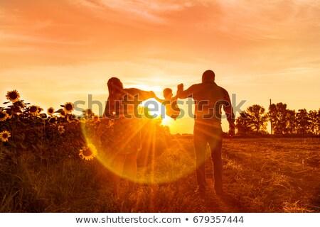 Silhouette man in summer sunset Stock photo © ajfilgud