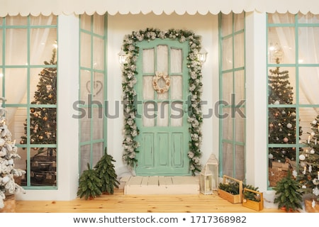 Traditional pine Christmas wreath frosted in snow Stock photo © ozgur