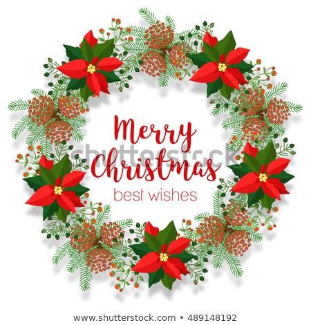 joyeux · Noël · couleur · pour · aquarelle · couronne · vecteur · rouge - photo stock © teirin_toys