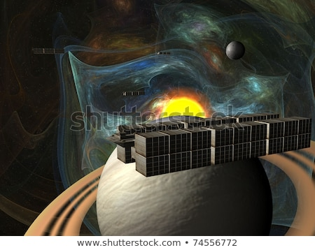 Garbage ship in Sun system over Saturn stock photo © sebikus