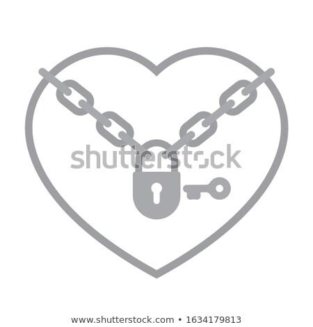 vektor · fém · lánc · zár · szeretet · felirat - stock fotó © adrian_n