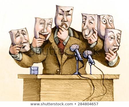 sanat · diplomasi · karikatür · örnek · iki · konuşma - stok fotoğraf © izakowski