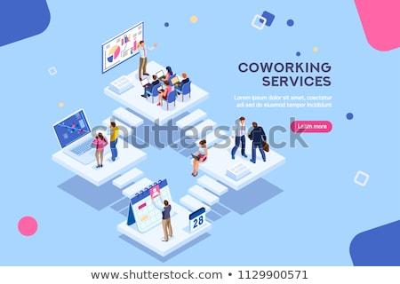 Infografika üzletemberek dolgozik illusztráció üzlet kezek Stock fotó © bluering
