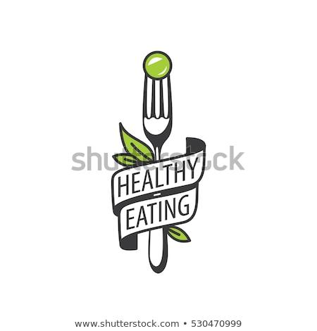 Vegan garfo texto símbolo vegetariano alimentação Foto stock © Lightsource