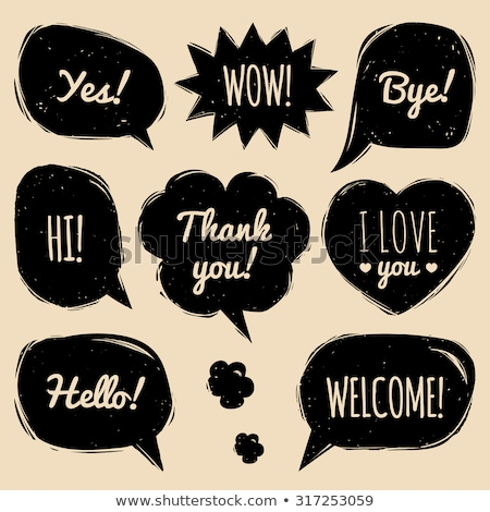 Stok fotoğraf: Thank You Speech Bubble As Sticker Label