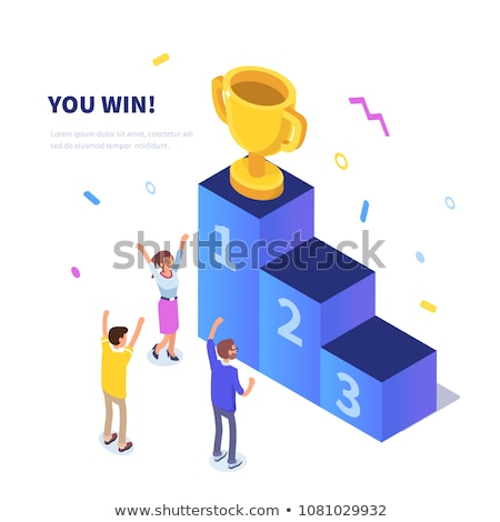 pedestal for rewarding an isometric vector illustration stock photo © kup1984