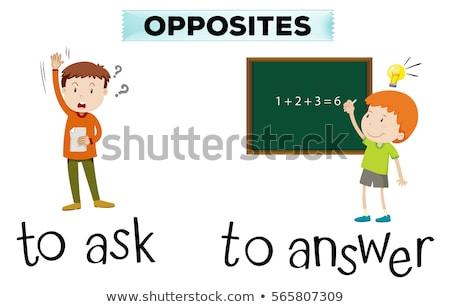 Stock fotó: Ellenkező · kérdez · válasz · illusztráció · gyermek · háttér