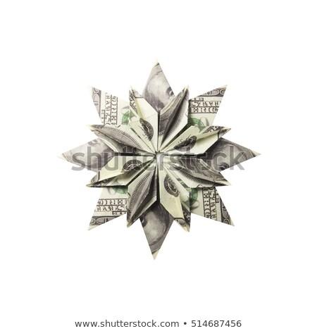 Geld origami sneeuwvlok bankbiljetten witte handgemaakt Stockfoto © butenkow