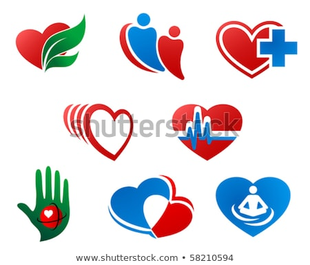 healthy living symbol set on a abstract red background stock photo © tefi