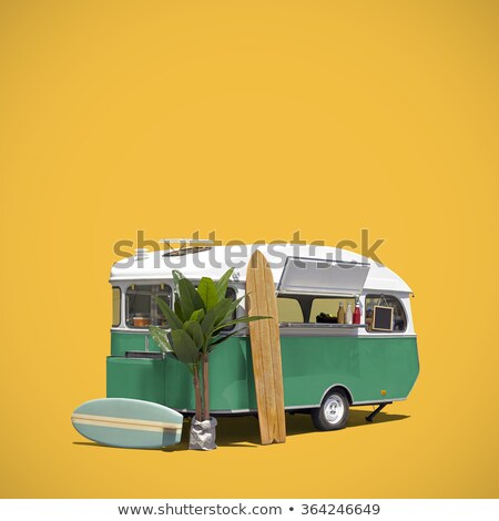 Yellow fast food truck on blue background template  Stock photo © dawesign