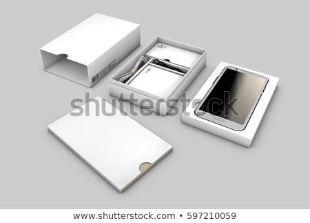 kinyitott · doboz · csomag · mobiltelefon · izolált · fehér - stock fotó © tussik