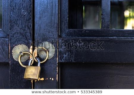 detail of rusty iron door lock stock photo © klinker