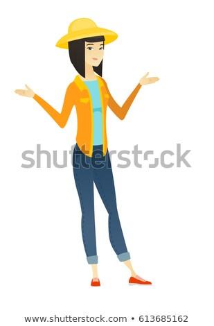 confuso · menina · ilustração · pensando · coisas · microfone - foto stock © rastudio