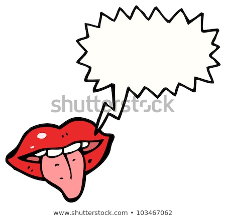 Stock foto: Female Mouth With Red Lips Sticking Tongue Out
