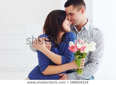 Stok fotoğraf: Koca · eş · çiçekler · gülen · sevmek