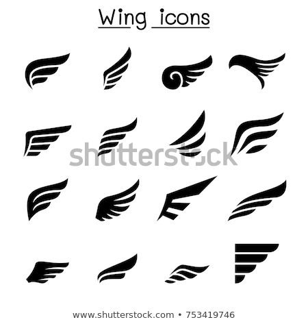 águila · escudo · emblema · negro · halcón · alas - foto stock © jeff_hobrath