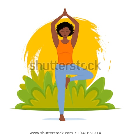 vector flat style illustration of woman doing yoga stock photo © curiosity