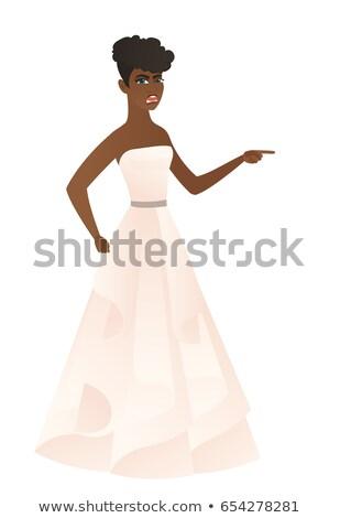 Furioso noiva gritando indicação dedo direito Foto stock © RAStudio