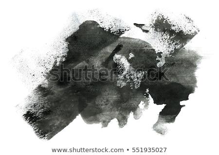 Stockfoto: Black Paint Stroke Watercolor Grunge Effect