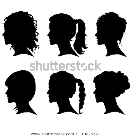 Woman face profile. Female head silhouette. Hairstyle long hair Stock photo © ESSL