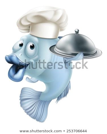 Balık cips şef maskot mutlu Stok fotoğraf © Krisdog
