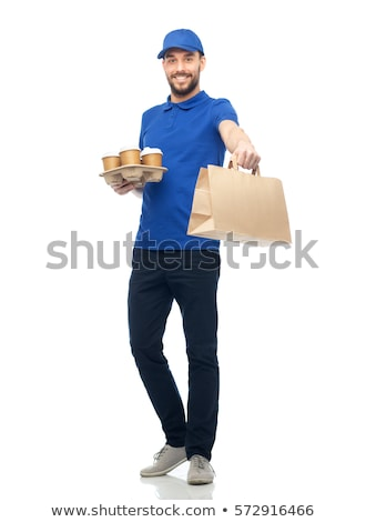happy delivery man with coffee and food in bag Stock photo © dolgachov