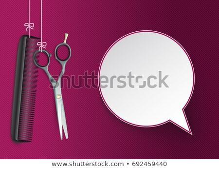 Hanging Scissors Comb Purple Speech Bubble Stock photo © limbi007