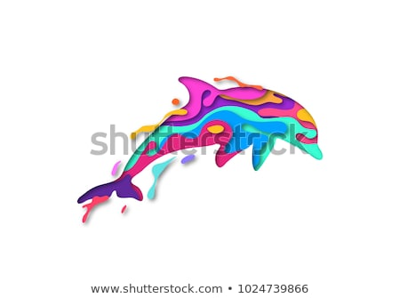 оригами стиль дельфин подробный иллюстрация eps10 Сток-фото © unkreatives