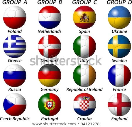 Euro 2012 voetbal Polen Oekraïne vlaggen Stockfoto © Winner