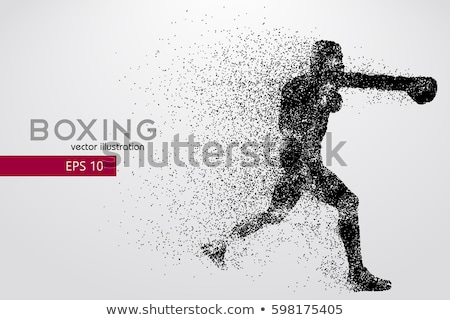 boxer dots silhouette boxing fighter banner vector stock photo © andrei_