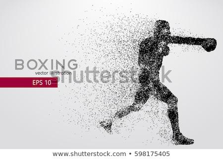 Боксер силуэта бокса истребитель баннер вектора Сток-фото © Andrei_