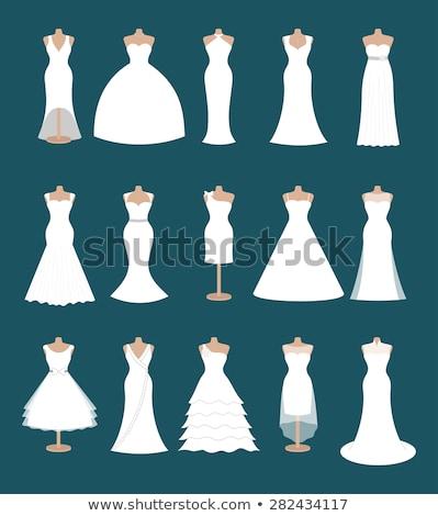 trouwjurk · bruid · silhouet · bruiloft · illustratie · witte - stockfoto © krisdog