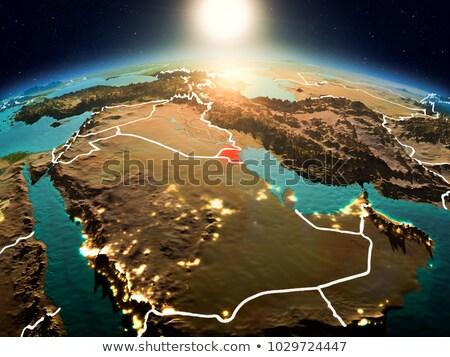 Кувейт красный пространстве ночь орбита 3d иллюстрации Сток-фото © Harlekino
