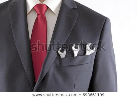 ビジネスマン 3  スーツ ポケット 孤立した 白 ストックフォト © sqback