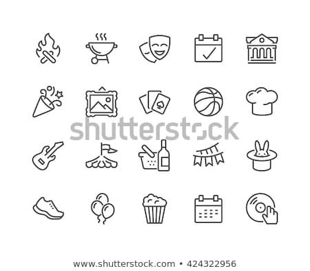 cozinhar · caldeirão · fogueira · linha · ícone - foto stock © rastudio