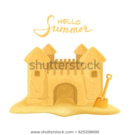 castillo · de · arena · ilustración · ninos · verano · nino - foto stock © orensila