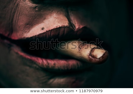 scary disfigured man with a finger in his mouth Stock photo © nito