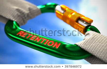 Stockfoto: Green Carabiner Hook With Text Retention