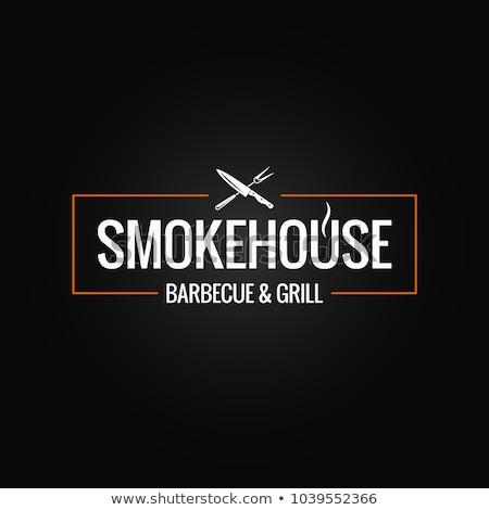 Slager logo chef mes vlees biefstuk Stockfoto © popaukropa