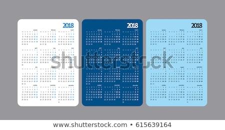 Foto stock: Pocket Calendar 2018 Grid Template