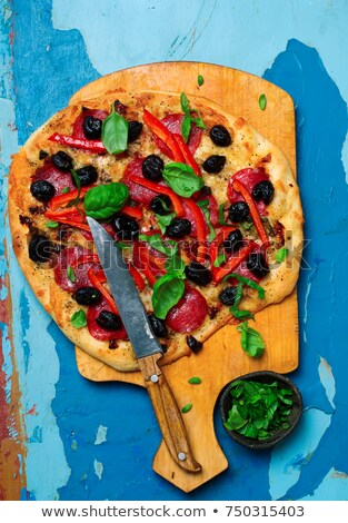 mediterranean roasted red pepper pizzatop view selective focus stock photo © zoryanchik
