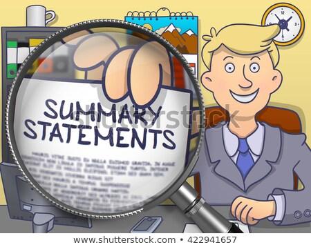Summary Reports through Magnifier. Doodle Concept. Stock photo © tashatuvango