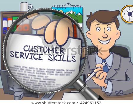 обслуживание клиентов навыки увеличительное стекло болван деловой человек сидят Сток-фото © tashatuvango