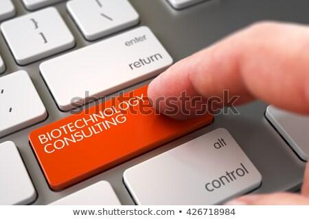 Biyoteknoloji danışman klavye anahtar iş erkek Stok fotoğraf © tashatuvango