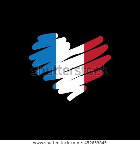 Franciaország szív hazafias szimbólum képregény rajz Stock fotó © rogistok