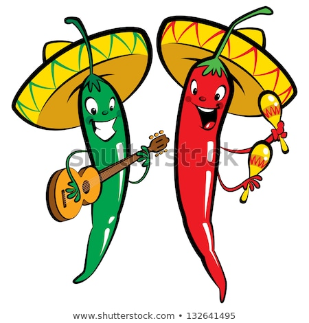Stock photo: Red Mexican hot chili pepper in sombrero playing guitar