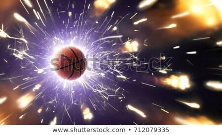 Vurig basketbal bal 3d illustration vliegen zwarte Stockfoto © ssuaphoto