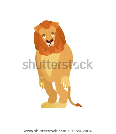 Lion sad. Wild animal sorrowful. Beast dull. Vector illustration Stock photo © popaukropa