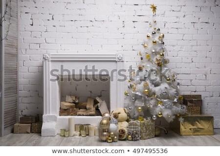 Ataviar rama blanco pared de ladrillo caer nieve Foto stock © romvo