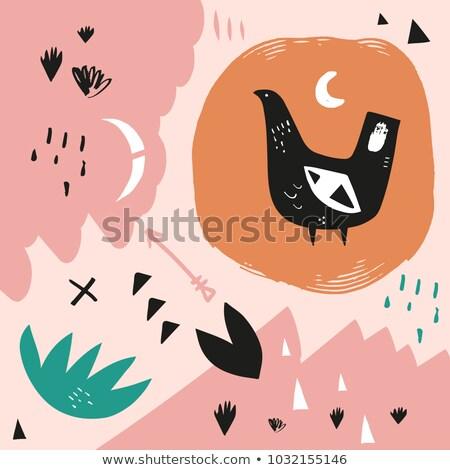 stilizált · dekoratív · madár · illusztráció · clipart · kép - stock fotó © vectorworks51